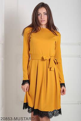 Класичне жіноче гірчичне плаття Inster (XS-XXL)