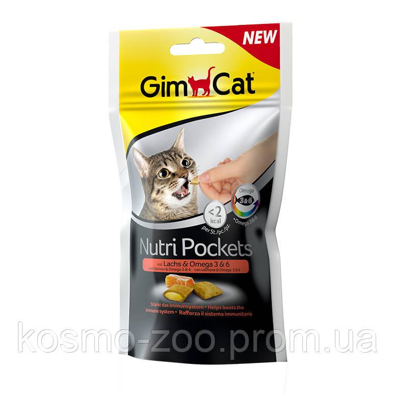 Подушечки Джимкет НутриПокетс (Gimcat NutriPockets) с лососем и Омега 3 и 6, 60 гр