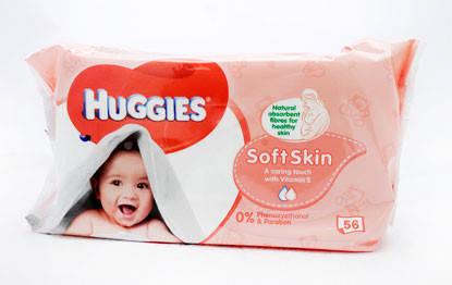 Влажные детские салфетки Huggies Soft Skin 56шт. (Хагис), фото 2