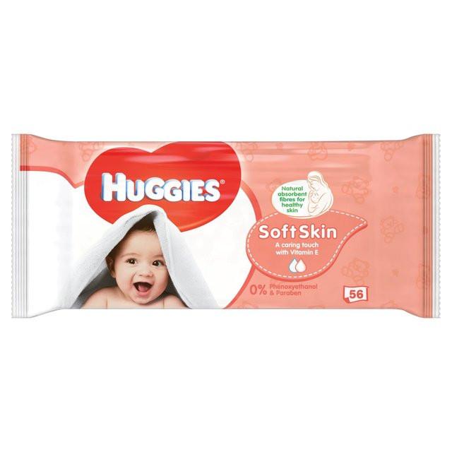 Влажные детские салфетки Huggies Soft Skin 56шт. (Хагис)