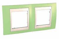 SHNEIDER ELECTRIC UNICA PLUS Рамка двухмодульная горизонтальная Зелёное яблоко