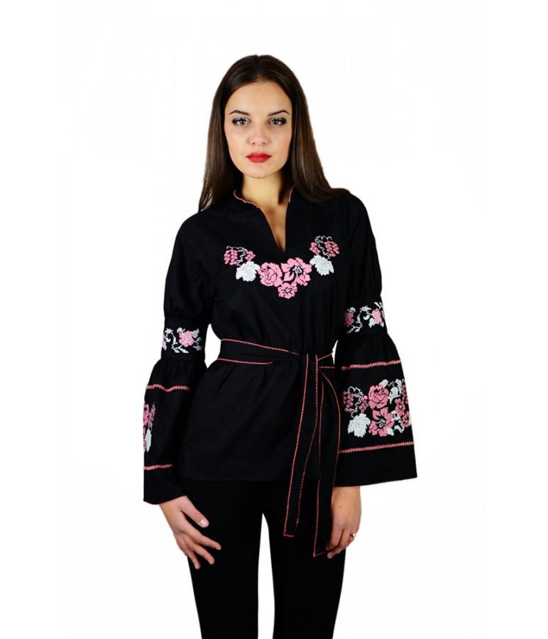 Вышитая черная женская рубашка «Розы» M-220-2