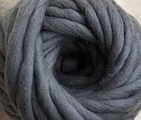 Толстая пряжа ручного прядения 100% шерсть, темно-серый №41