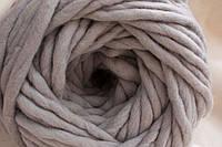 Толстая пряжа ручного прядения 100% шерсть, светло-серый №37
