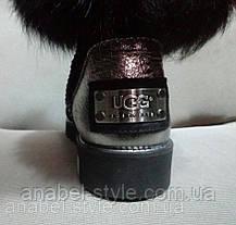 Угги женские UGG с меховой опушкой натуральная замша чёрные Код 116с, фото 3