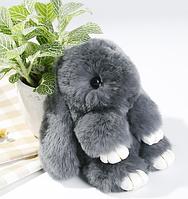 Меховой Кролик - брелок Rex Fendi, серый