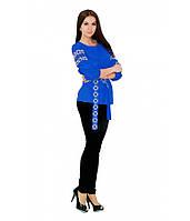 Вышитая женская рубашка с четвертным рукавом синяя М-218-1