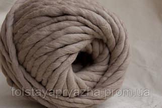 Товста пряжа ручного прядіння Elina Tolina, 100% вовна (оброблена) Тілесний, фото 2
