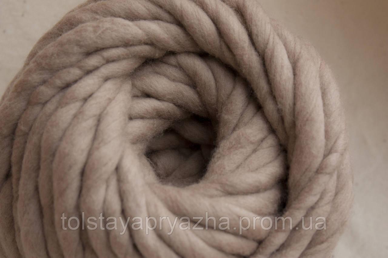 Толстая пряжа ручного прядения Elina Tolina, 100% шерсть (обработана) Телесный