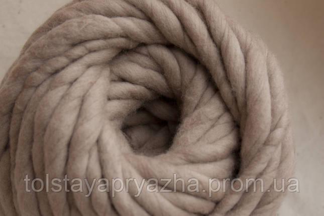 Толстая пряжа ручного прядения Elina Tolina, 100% шерсть (обработана) Телесный, фото 2