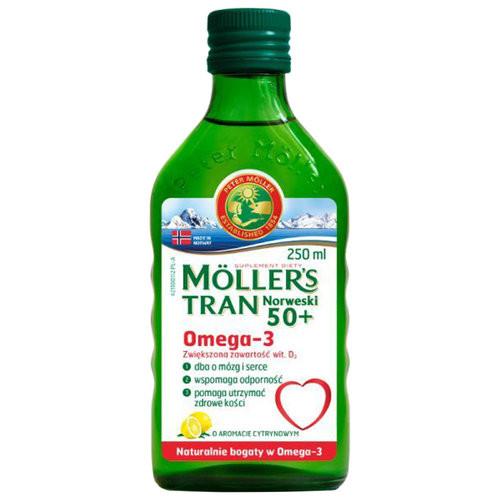 Mollers tran omega-3 норвежский рыбий жир для старших 50+лет  250 мл с лимоном