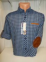 Рубашка X-Joker клетка. рукав трансформер, латка на локтях/купить только оптом