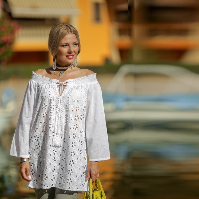 Летние блузки с открытыми плечами купить