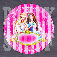 Одноразовая тарелка Барби 18 см (10 шт), фото 1