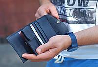"""Шкіряний гаманець кожаный кошелек """"Сompact"""" ручної роботи, натуральна шкіра, на кнопці, фото 1"""