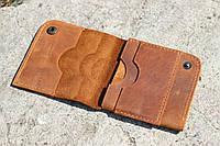 """Чоловічий шкіряний гаманець мужской кожаный кошелек """"Up"""" ручної роботи, натуральна шкіра, на кнопці, фото 1"""