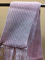 Вязаный шарф из полушерсти  английская резинка  цвет розовый