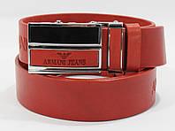 Кожаный ремень автомат мужской Giorgio Armani 8036-301 красный