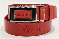Кожаный ремень автомат мужской Calvin Klein 8036-302 красный