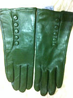 Женские кожаные  перчатки цвет зеленый
