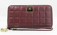 Кошелек женский кожаный на молнии Chanel 60019-С марсала, расцветки