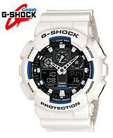 Часы Casio G-Shock GA-100 БЕЛЫЕ С ЧЕРНЫМ ЦИФЕРБЛАТОМ ударостойкие, спортивные, часы копия