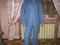 Пижама мужская 100% коттон синяя 2 оттенка махра с начесом теплая размер XL (48-50)