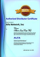 Alfa Network Authorized Distributor Certificate. 2014