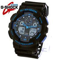 Часы Casio G-Shock GA-100 BLACK S BLUE (ЧЕРНЫЕ С СИНИМ) спортивные, мужские часы, копия.