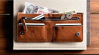 """Чоловічий шкіряний гаманець мужской кожаный кошелек бумажник """"Man"""" ручної роботи, натуральна шкіра, на кнопці, фото 1"""
