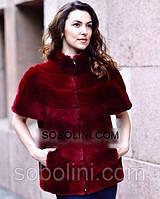 """Модная женская жилетка из меха испанского стриженного кролика цвета """"марсала"""" """"Ruby""""46 размер в наличии"""