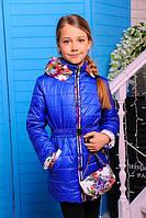 """Курточка  демисезонная для девочки c сумочкой """"Цветы"""""""