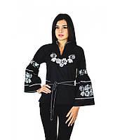 """Вышитая женская рубашка черная """"Белые розы"""" M-220-4"""