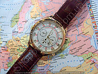Часы Patek Philippe Sky Moon 7669 мужские золотистые с белым циферблатом коричневый ремень копия