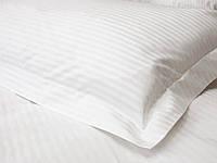 Отельное постельное белье Lotus сатин страйп 1*1 белое евро ( макси )