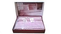 Постельное белье Nazenin сатин с кружевом Milena пудра евро размера