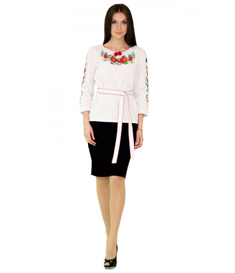 """Вышитая женская рубашка белая """"Маки"""" М-224-1 44"""