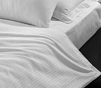 Отельное постельное белье Lotus cатин страйп 1*1 белое евро