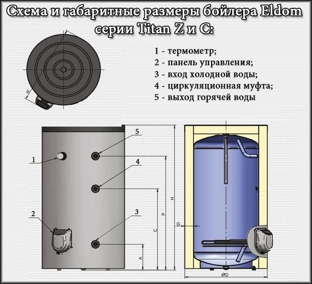 Схема и габаритные размеры бойлера Элдом Титан