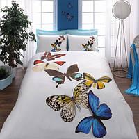 Постельное белье TAC 3D Butterflies голубое евро размера