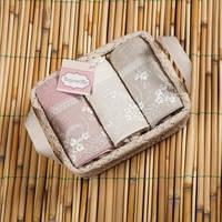 Набор полотенец Begonville Viva 2 молочный, розовый, серый 30*50 - 3 шт.