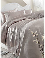 Постельное белье с покрывалом Pike Karaca Home Tugce серое