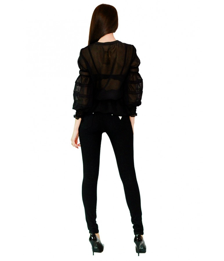Вышитая женская рубашка черная с белым принтом «Рандеву» М-310-3
