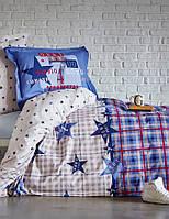 Подростковое постельное белье Karaca Home Peace синее