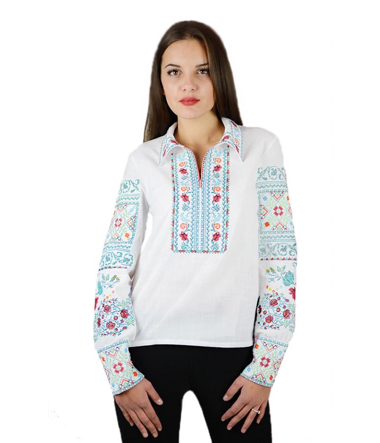 """Вышитая женская рубашка белая нежная """"Щедрость""""  М-231-2 44"""