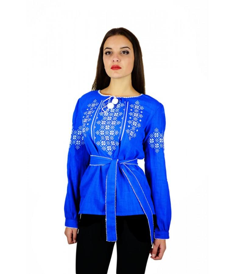 Вышитая женская рубашка «Летнее небо» М-225