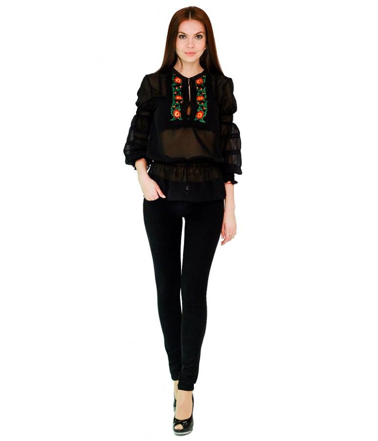 Вышитая женская рубашка черная с крсным принтом «Рандеву» М-310
