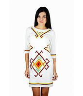 """Вышитое женское платье белое  """"Таврия""""  М-1055, фото 1"""
