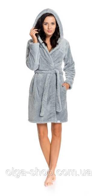 Халат женский домашний теплый банный зимний плюшевый серый с капюшоном пояс Dobra Nocka 9150
