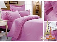 Постельное белье Love you Сатин с кружевом полуторное 1,5 цвет розовый